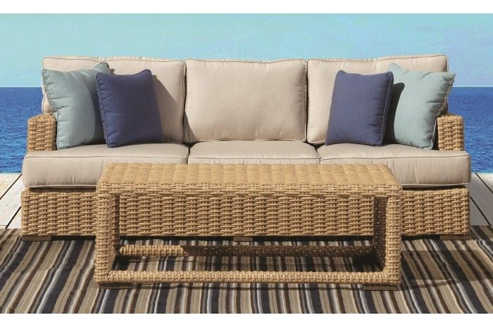Leucadia Collection Patio Sofa And Coffee Table Sunset West