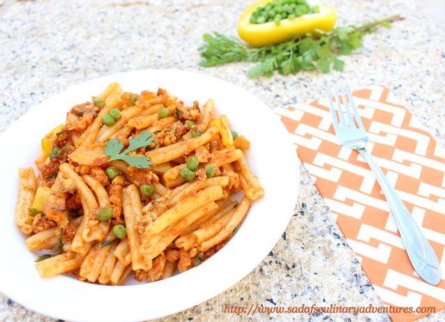 Chicken Keema Pasta - Curried Chicken Pasta with Garam Masala and other Indian spices