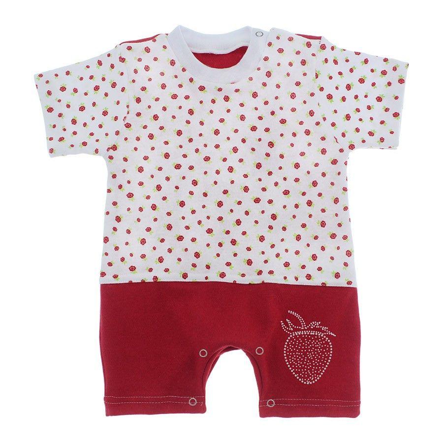 0915867ac Macacão bebê curto estampado de florzinhas este macacão possui um charmoso  aplique em brilho glitter