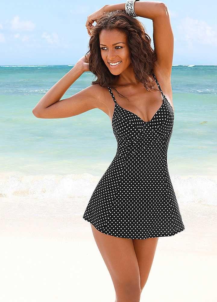01f81a19ab3 LASCANA Black Fine Polka Dot Swimdress #monochrome | Bathing suits ...