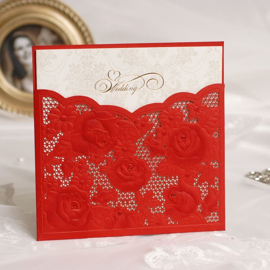 Free print Laser Cut lace red Wedding invitation card for birthday ...