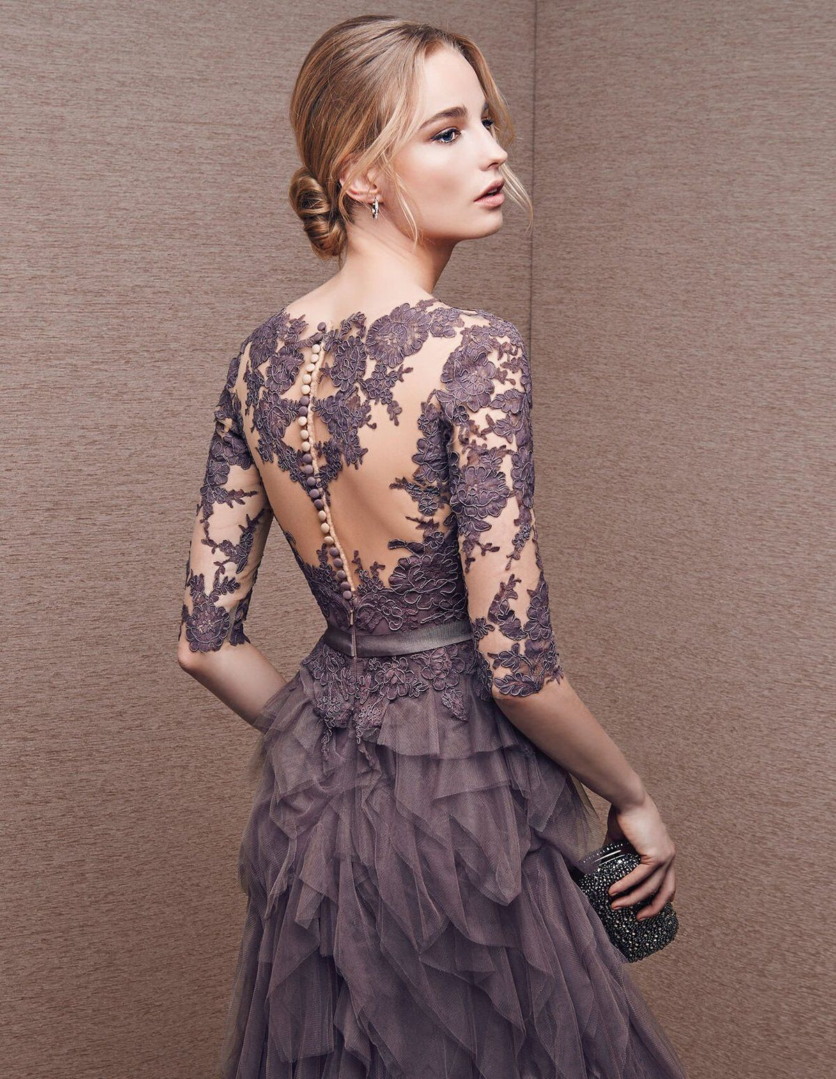 A-line Bateau Floor Length Tulle Prom Dress Evening Drsess ...