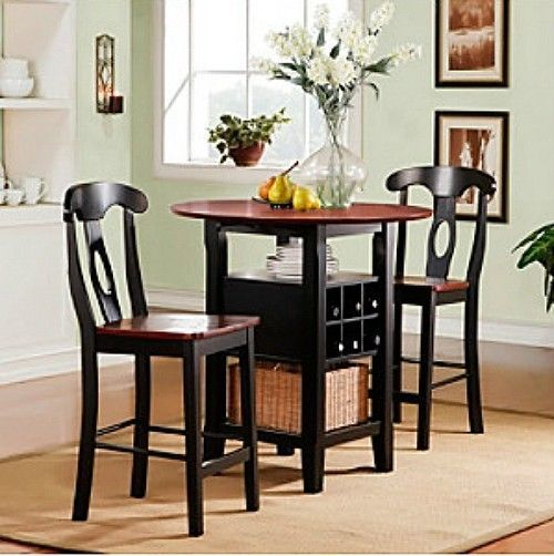 3 Piece Bistro Kitchen Set Table Bar Wine Rack Chairs Black Dining