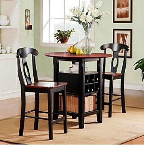 3 Piece Bistro Kitchen Set Table Bar Wine Rack Chairs Black Dining