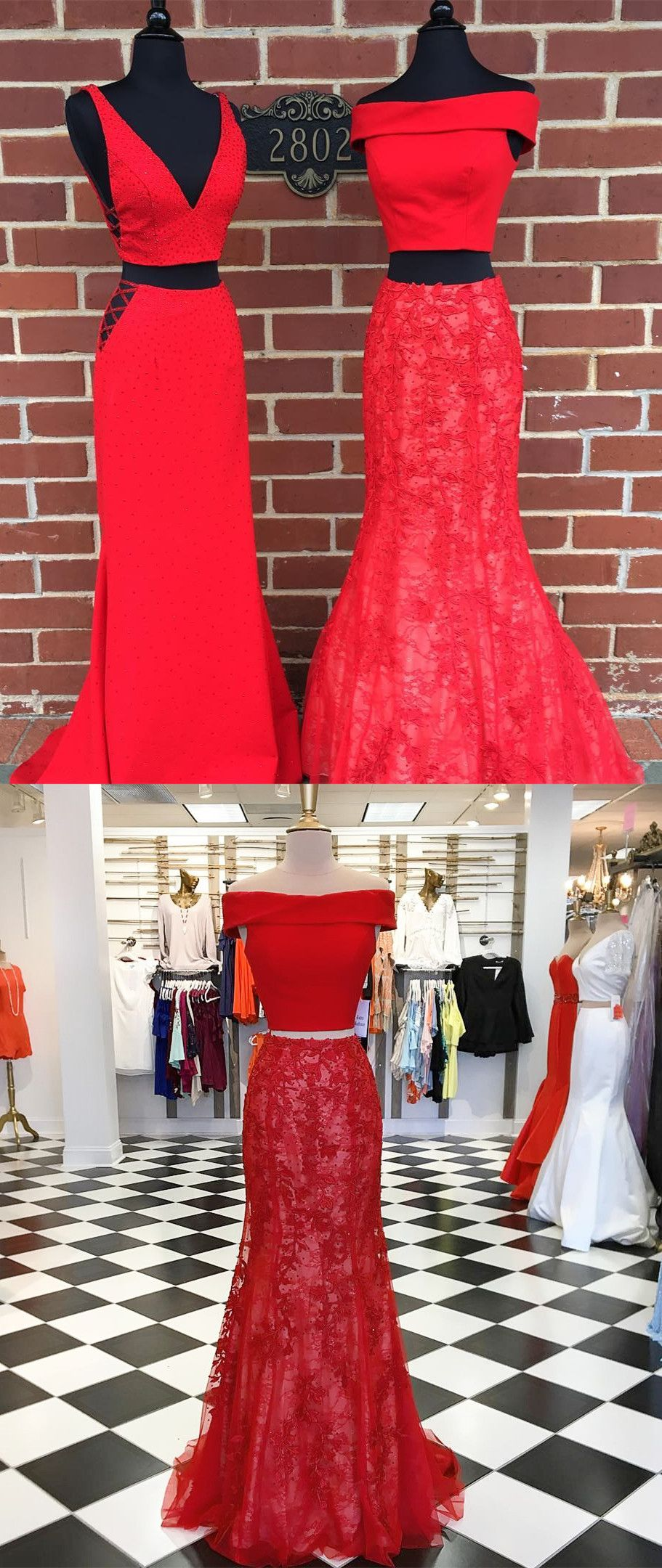 Prom dresses two piece red mermaid long prom dresses red long