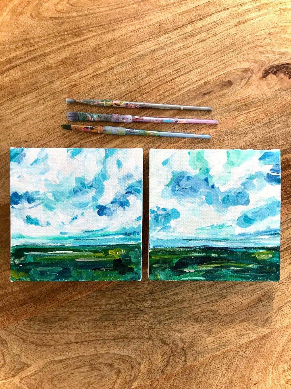 Easy Abstract Lanscape Painting Tutorial On Youtube Learn How To Paint Easy A In 2020 Canvas Painting Landscape Landscape Painting Tutorial Sunset Landscape Painting
