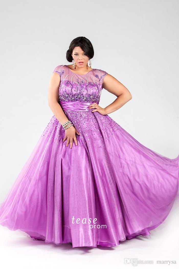 Cheap Purple Plus Size Prom Dresses Rhinestones Beaded Sheer Neck ...