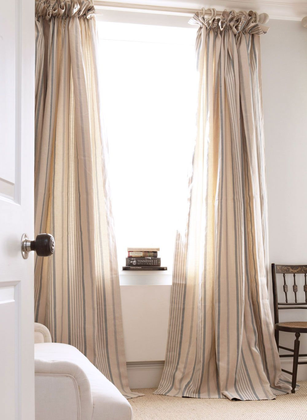 Blue Ticking Curtains Kate Forman Design Window
