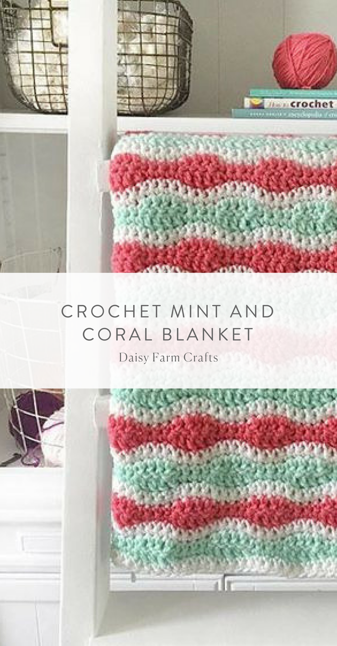 Free Pattern - Crochet Mint and Coral Blanket | Crochê | Pinterest ...