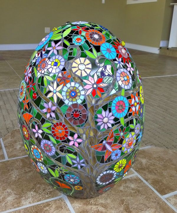 3d mosaic sculpture on terra cotta form i would love to for Egg mosaic design