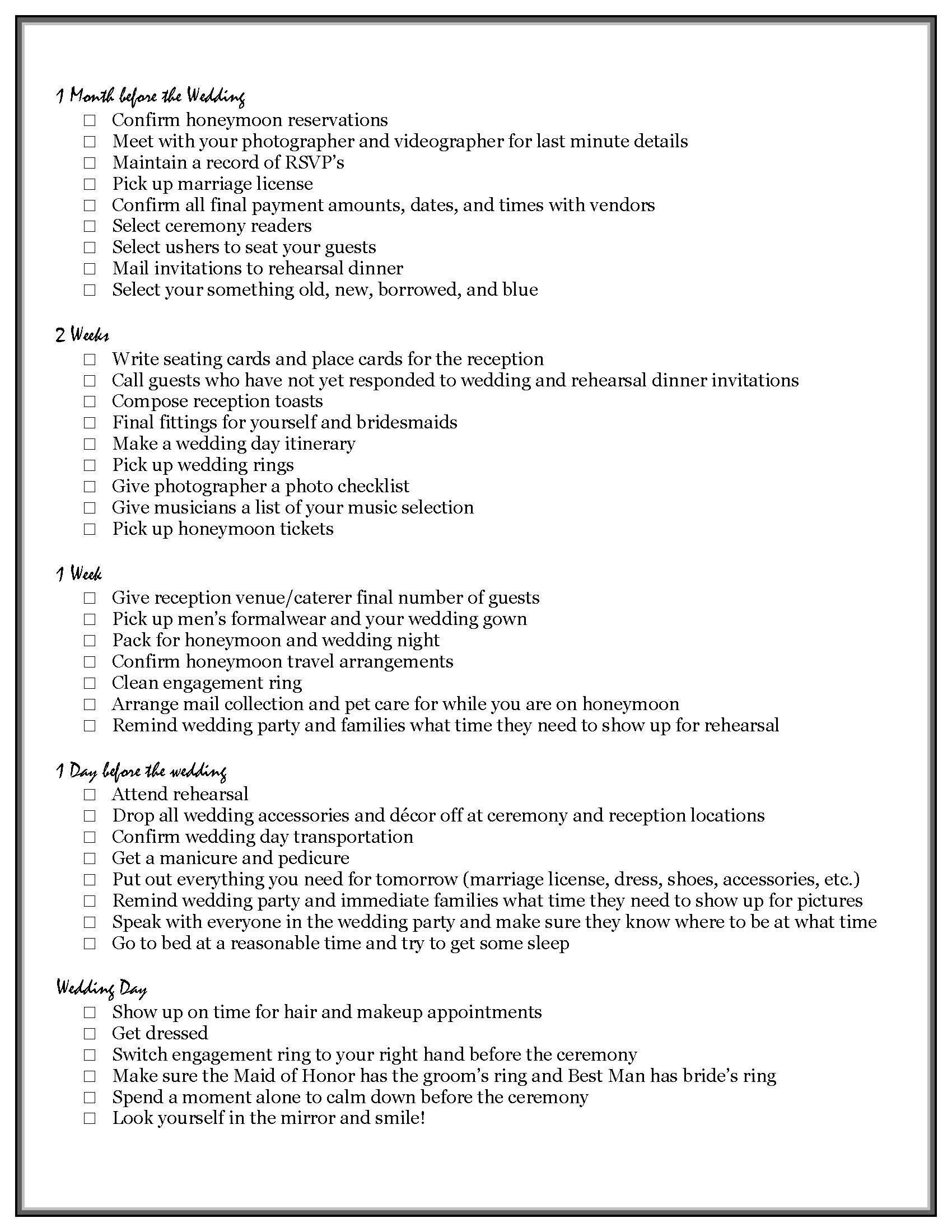 Bridal Checklist Printable Vip S Ultimate Wedding Checklist