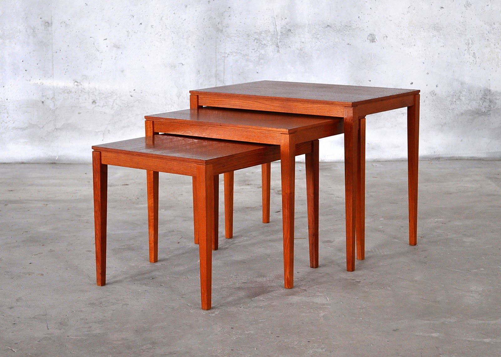Teak Nesting Tables By Bent Silberg For Mobler Of Denmark Furniture Teak Nesting Tables