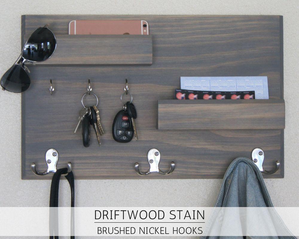 entryway organizer driftwood finish key