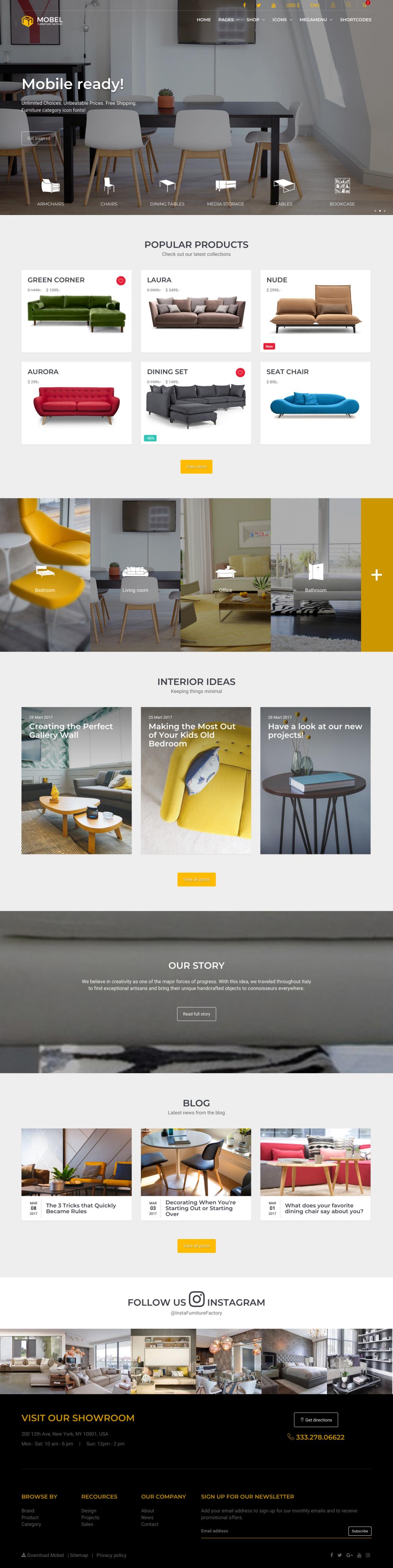 mobel furniture html website template creative decor decoration design exterior factory furniture home house interior modern portfolio shop