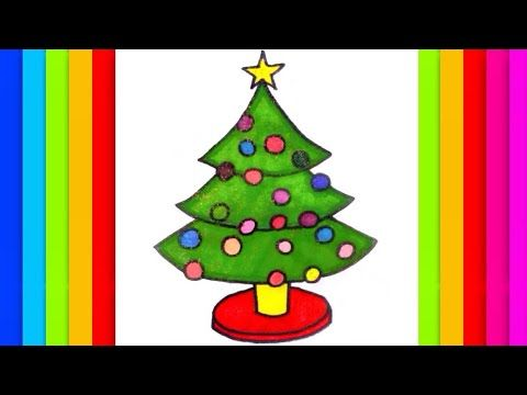 how to draw and paint a christmas tree star lights drawing painting coloring kids rainbow cats art