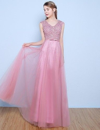 A Line V Neck Floor Length Lace Tulle Formal Evening Dress With