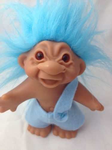 "$.   2005 DAM TROLL Doll 5"" Blue Pants open mouth blue hair"