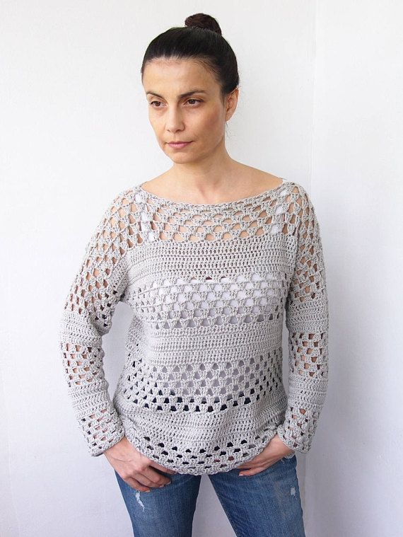 Crochet Pattern woman granny stripes sweater women pullover, top ...