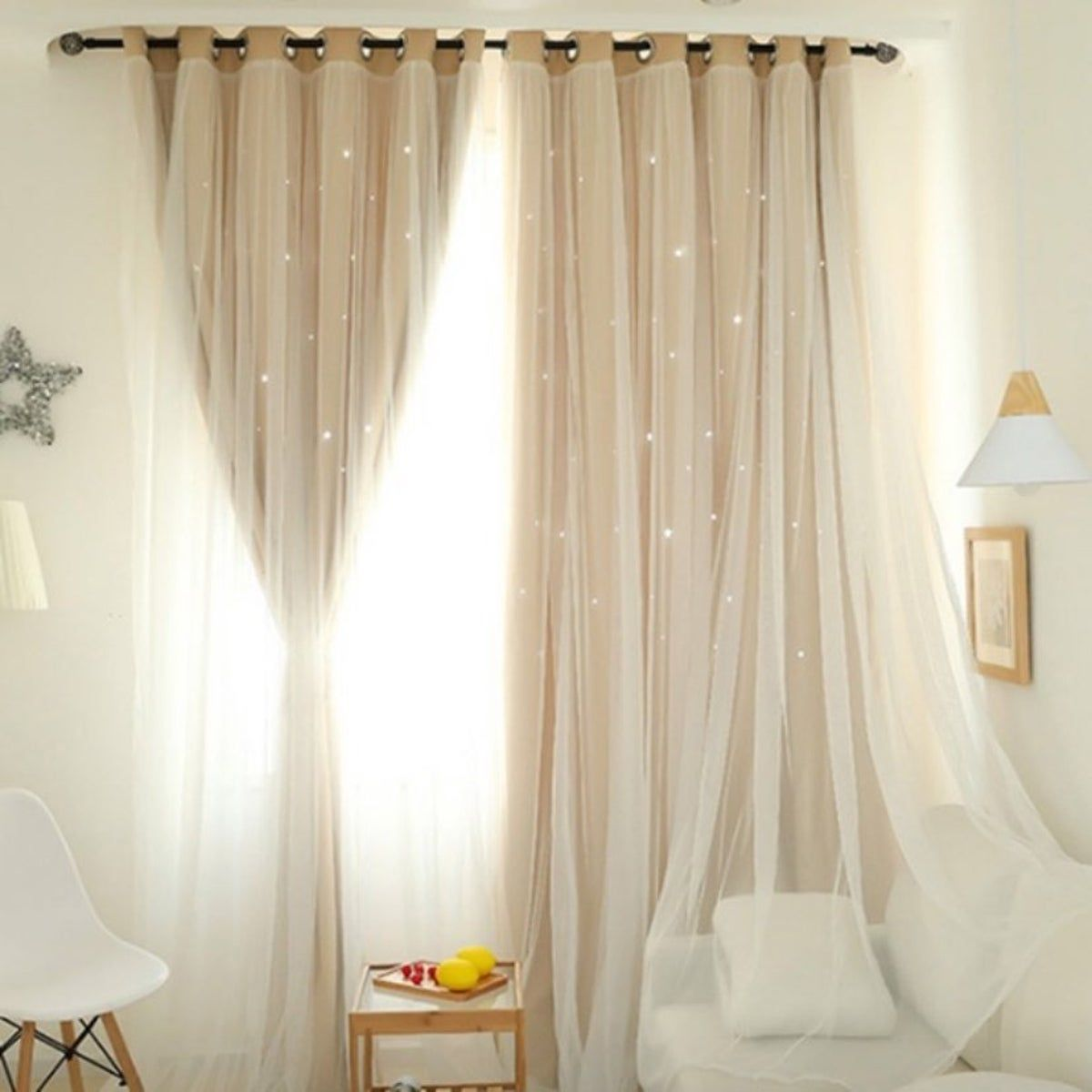 2 Pannel Ivory Star Shading Curtains On Mercari In 2020 Curtains Living Room Curtains Romantic Curtains