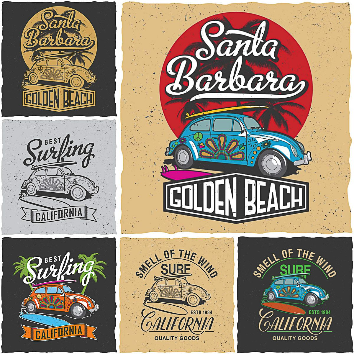Design t shirt adobe illustrator tutorial - Retro Surfing California T Shirt Prints Vector