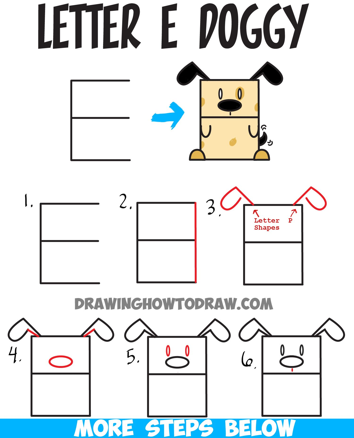 How to Draw a Cartoon Dog from Uppercase Letter E Easy Steps
