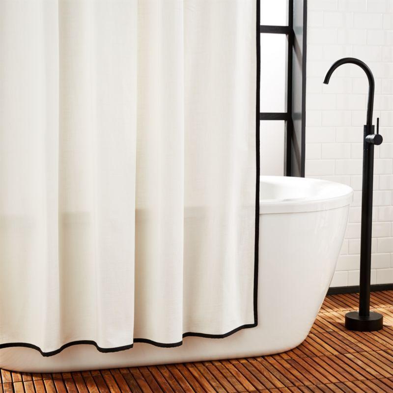 Capri Black Border Shower Curtain Reviews Cb2 Modern Shower Curtains White Shower Curtain Modern Shower