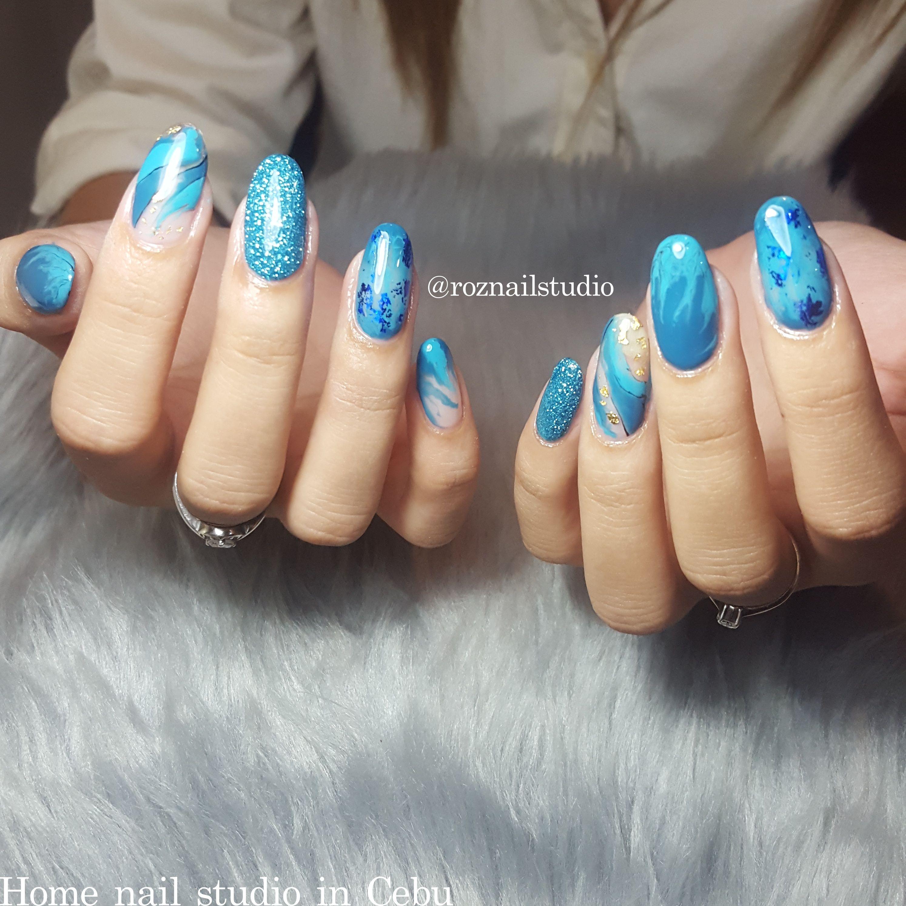 Custom Blue Gel Design By N Roz Owner Of Roz Nail Studio Cebu Gel Designs Nail Studio Blue Gel