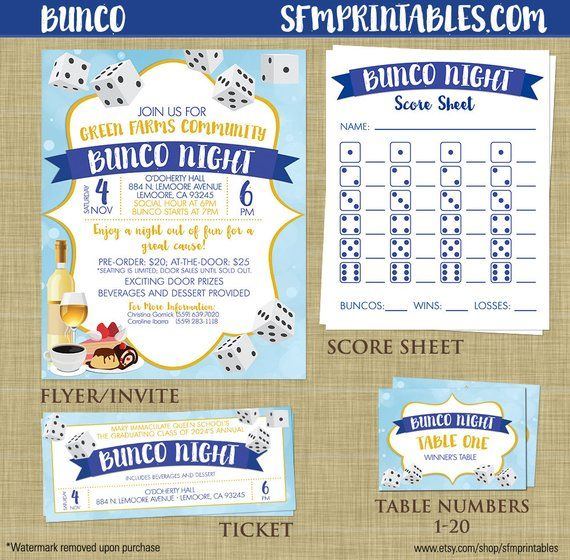 Bunco Flyer Invitation Bundle Template Church School Community