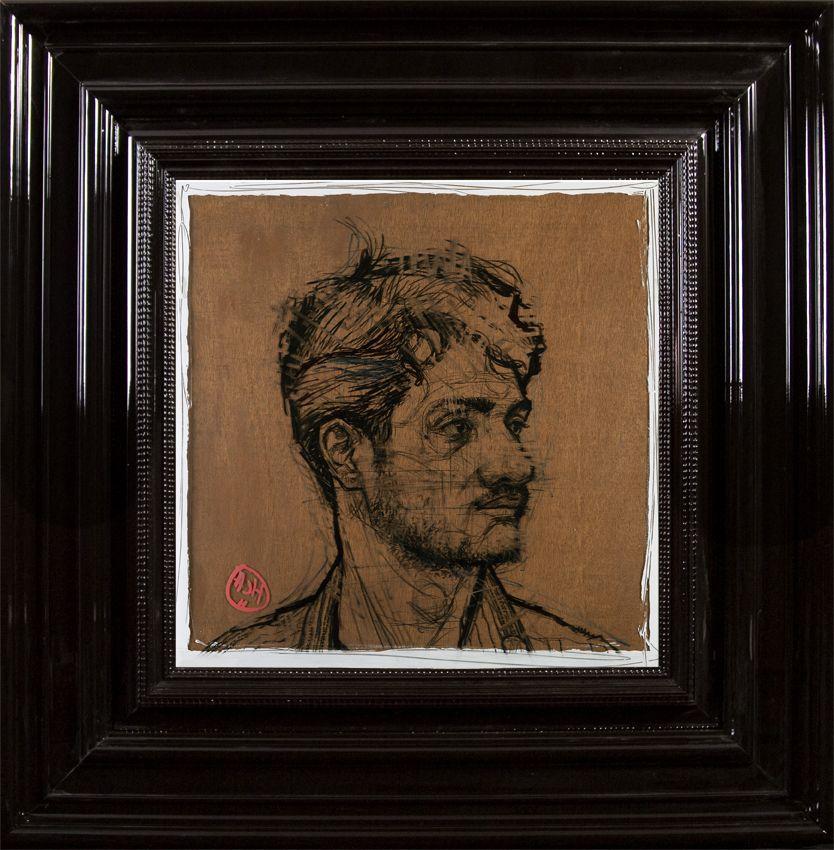 Profil de Shamu  - Encre et Acrylique sous Perspex - 53 x 53 cm (hors cadre)