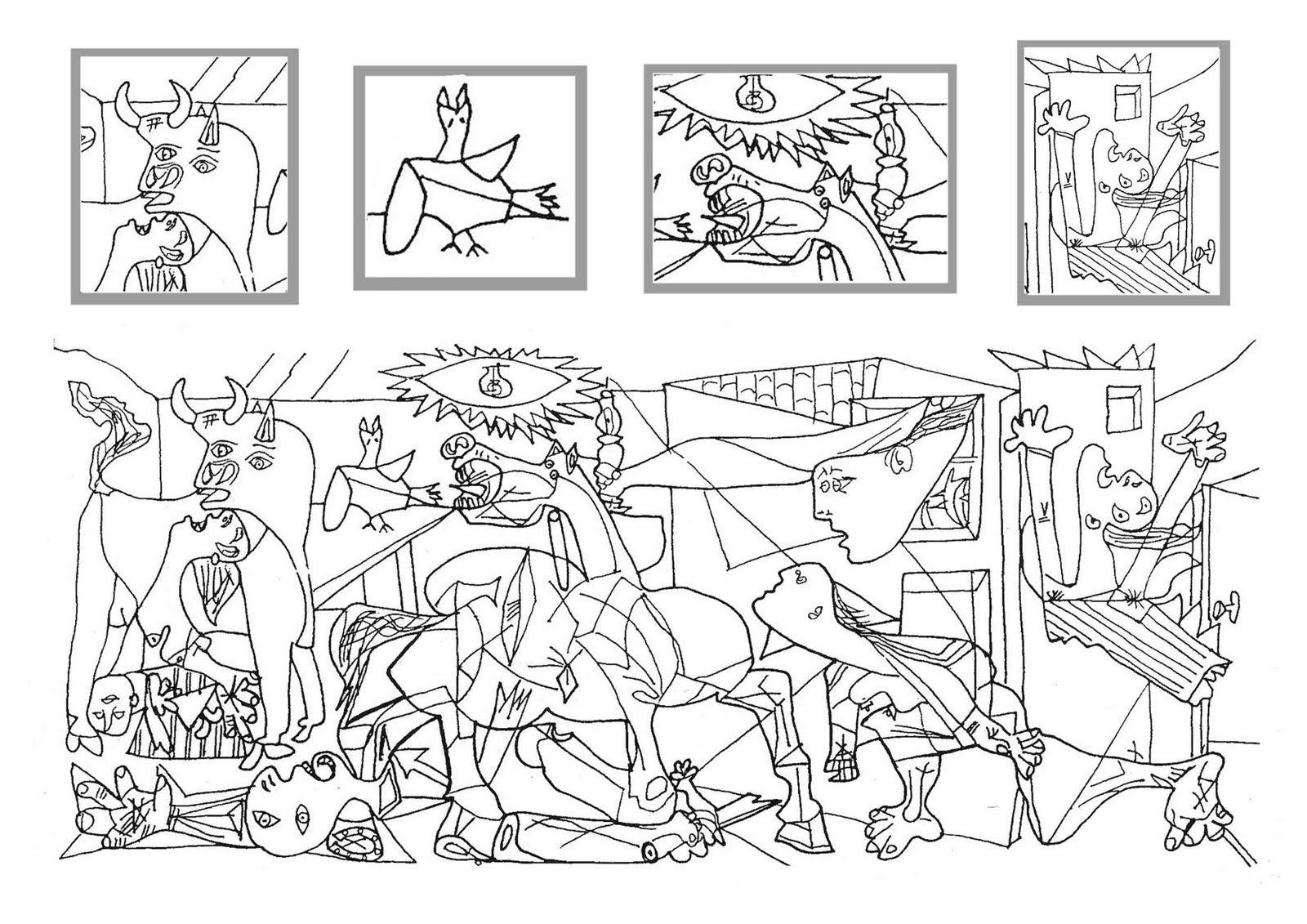 Pequenos Pinceles Guernica Para Colorear