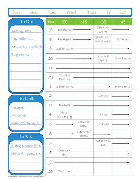 Home School Printable Time Sheets | Free Printable Hourly Planner