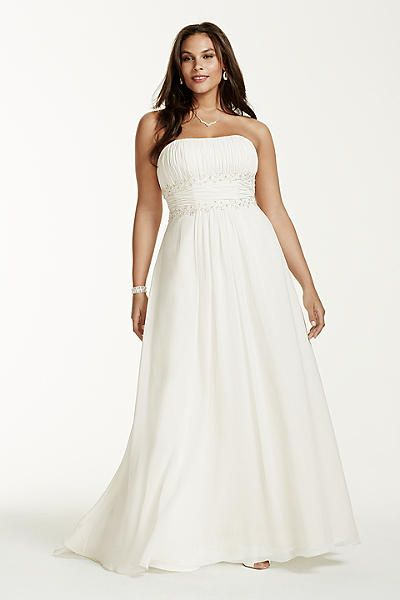 Chiffon Beaded Empire Plus Size Wedding Dress 4XL9V9743 | Wedding ...
