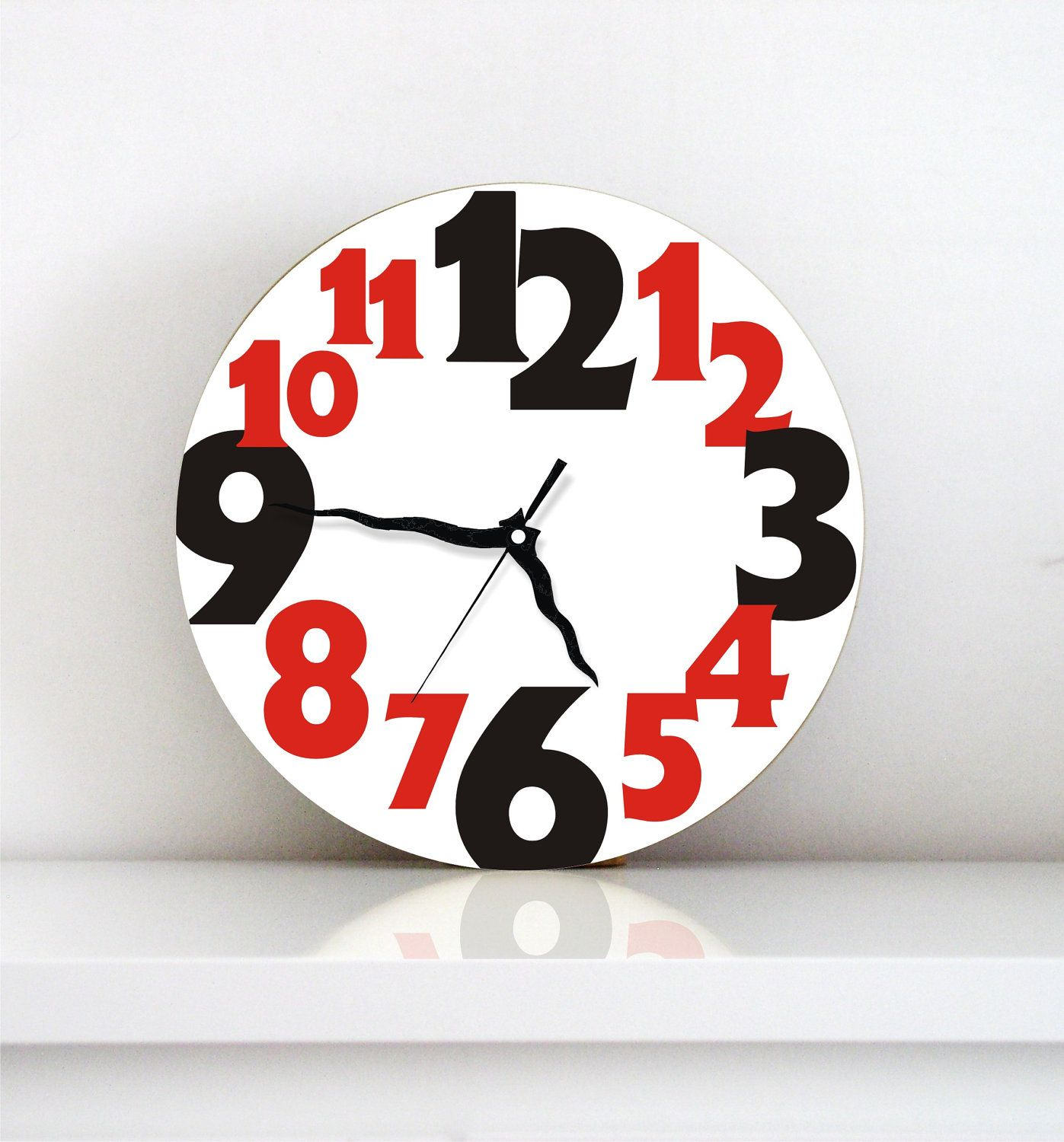 Wall clock Black red typography large numbers modern minimalist home ...