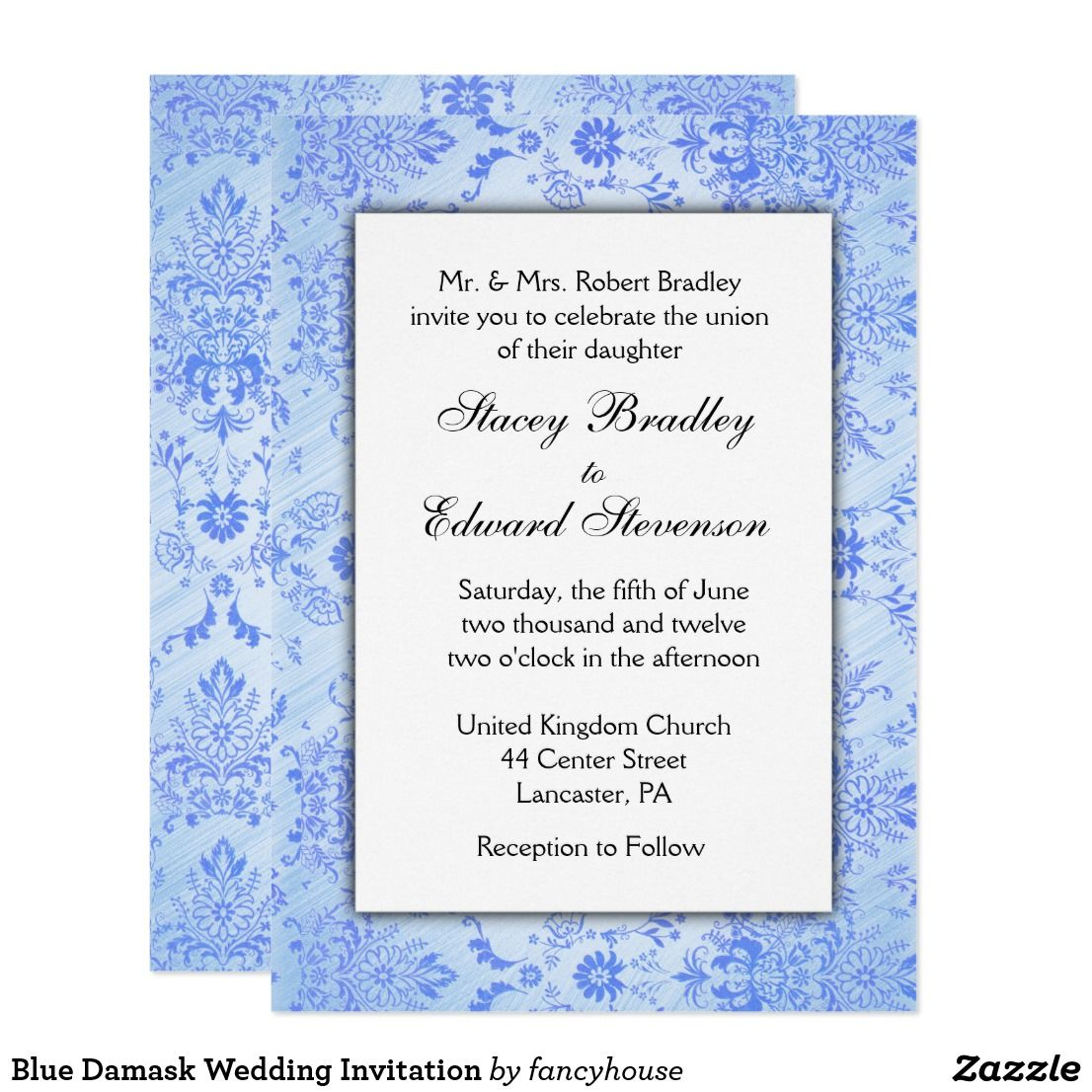 Awesome Delicate Blue Damask Wedding Invitation Lacy Look Now 40