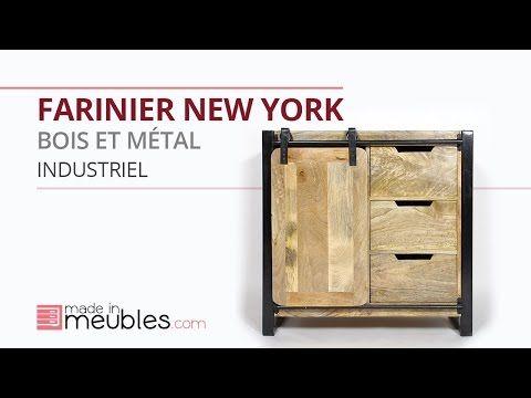 Farinier En Bois Et Metal New York Meuble Rangement Bois Metal Salon En Bois