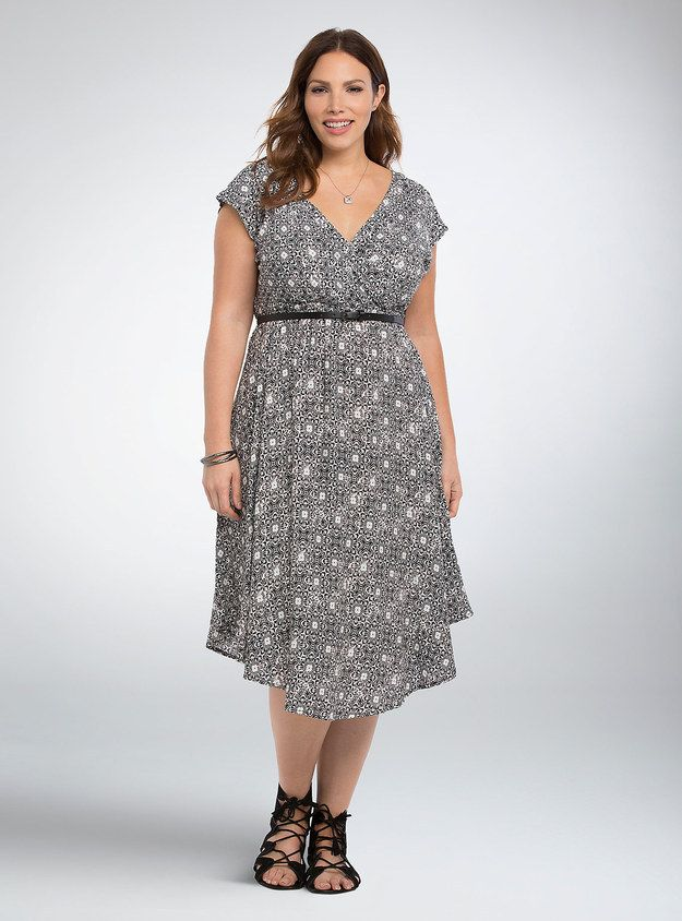 This Black And White Mid Length Dress Plus Size Fashion