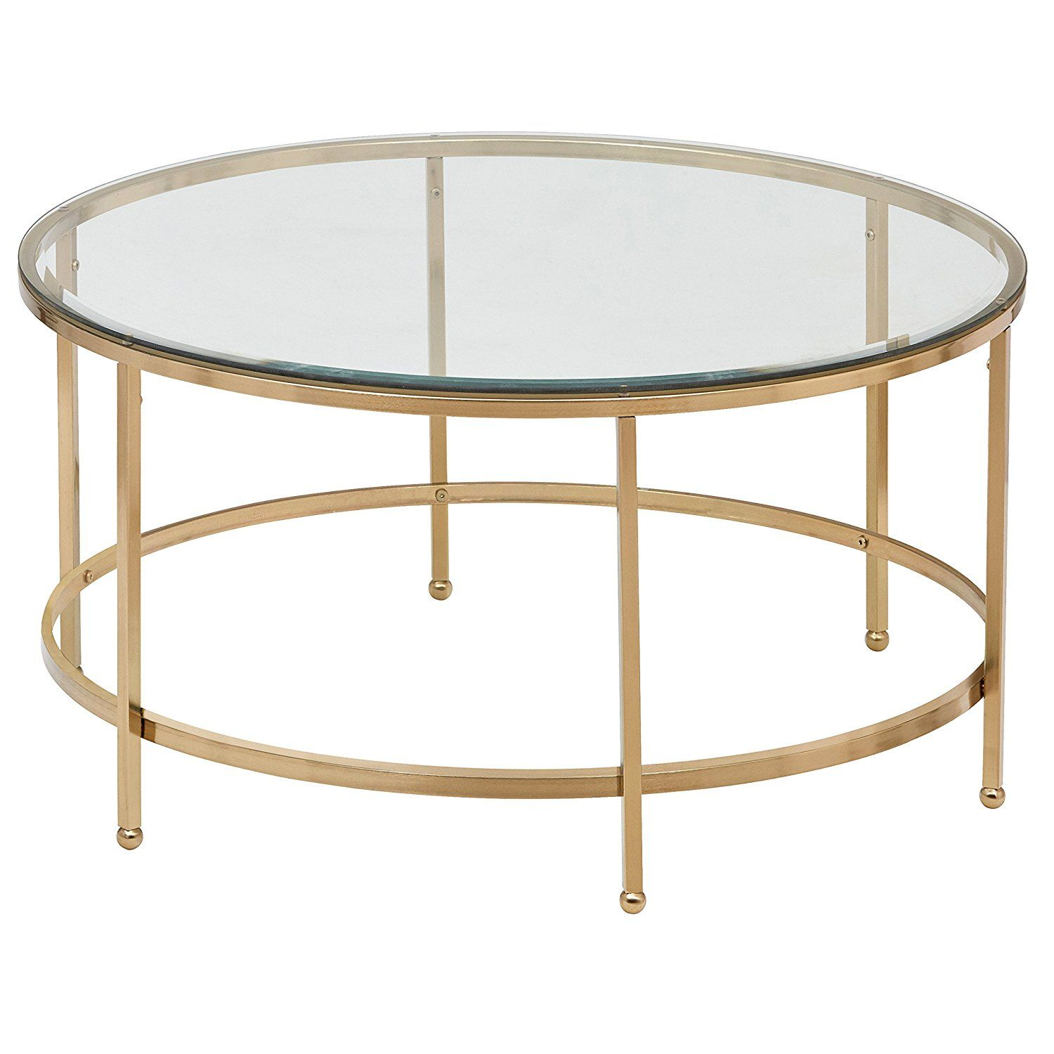 Rivet modern glass and gold coffee table 36w gold finish kitchen dining