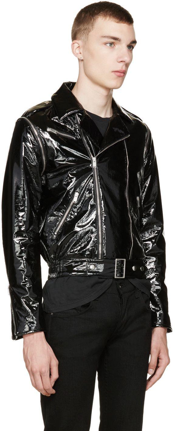 Saint Laurent Black Patent Leather Biker Jacket Leather Biker Jacket Biker Jacket Black Patent Leather [ 1412 x 576 Pixel ]