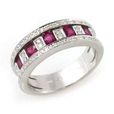 Belle Epoque Collection by Damiani, Ruby and Diamond Ring, in 18kt White Gold