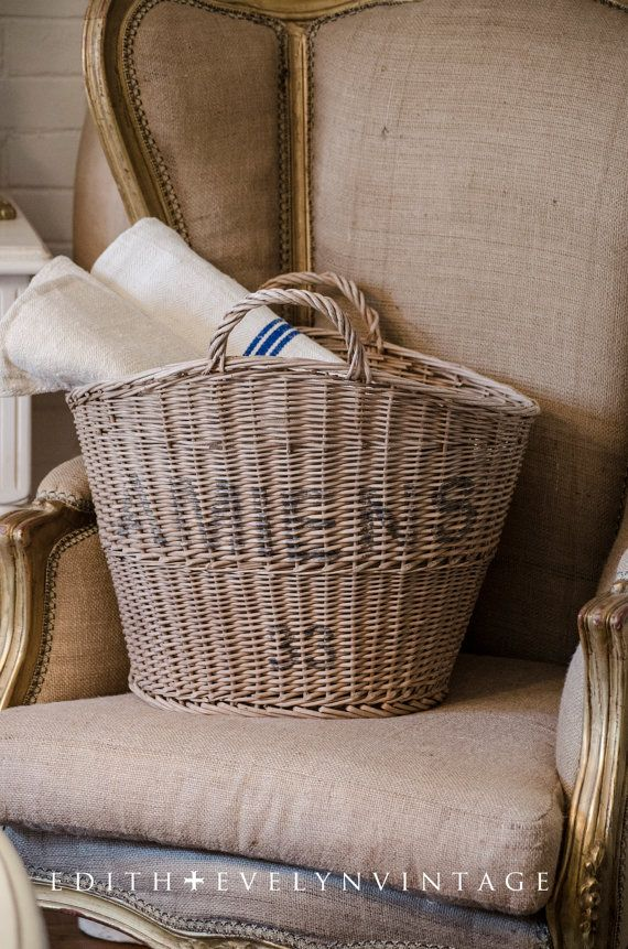 Vintage French Market Basket, From France, Wicker, Stamped and ...