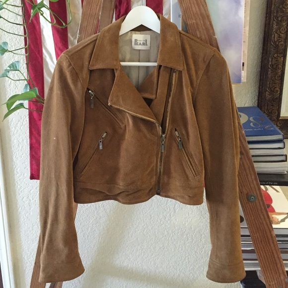 Made For Peal Suede Biker Moto Jacket Made For Pearl authentic suede brown Moto Biker jacket in size small/4. Made For Pearl Jackets & Coats