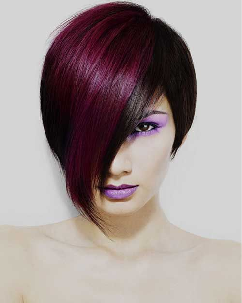 Two Tone Hair Color Ideas For Short Hair Funky Hair Colors Cool Hair Color Hair Color Purple