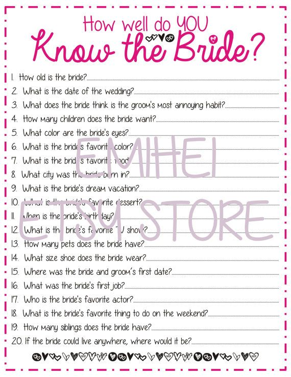 how well do you know the bride bridal shower game pink fun detailed