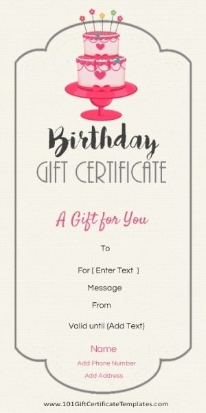 Birthday Certificate Templates Free Printable Entrancing Birthday Gift Certificate Template  Gift Ideas  Pinterest  Gift .