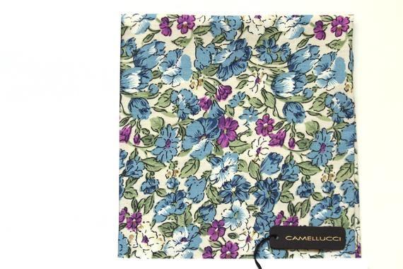 Mens Pocket square Blue Floral Cotton men's pocket square Gift for him #pocketsquares