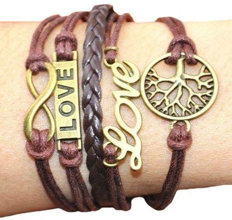 Romantic Tree LOVE 8-shape Pendant Bracelet