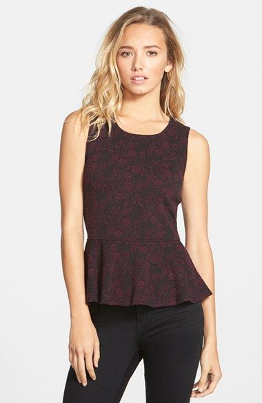 Frenchi® Frenchi Floral Jacquard Peplum Tank (Juniors) available at #Nordstrom