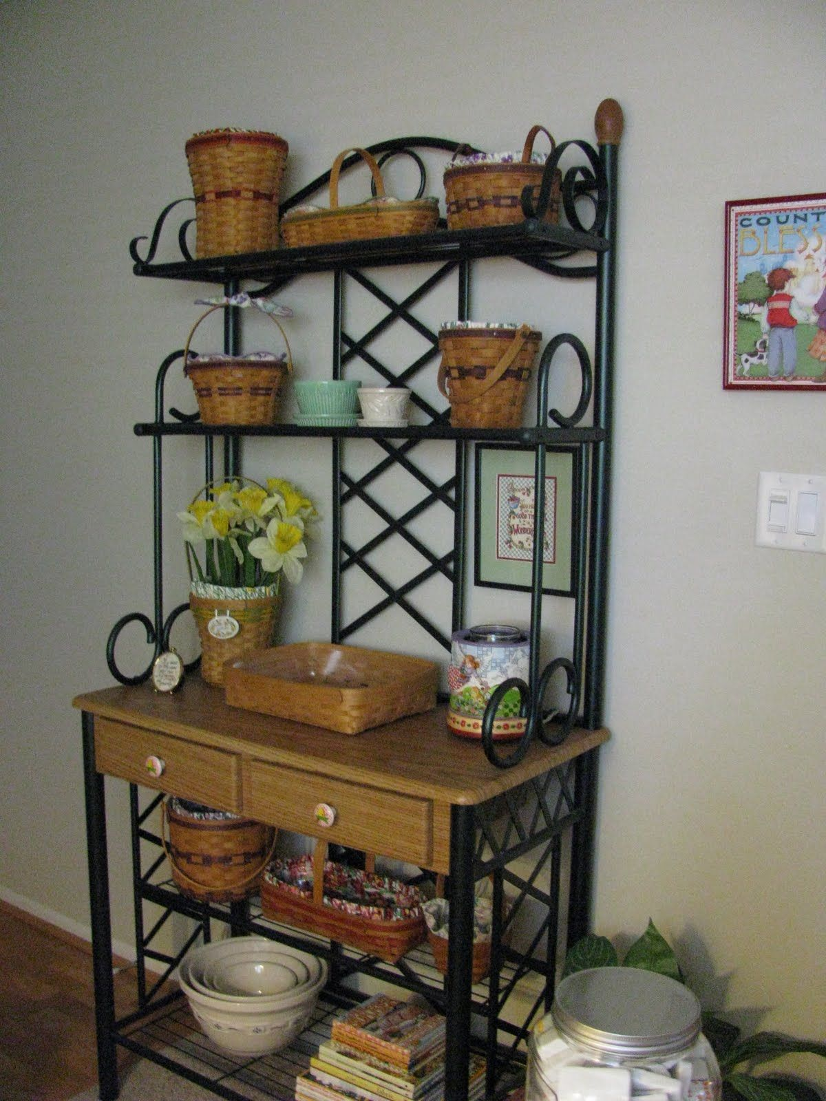 design plant stand bakers classy style french kitchen with racks storage for rack wrought hutch iron corner