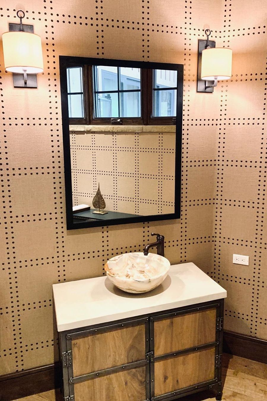 I Love A Great Powder Room This Amazing Phillipjeffriesltd Wallpaper Was A Great Fit For Our Client S Mountain Mode In 2020 Modern Style Homes Bathroom Styling Sink