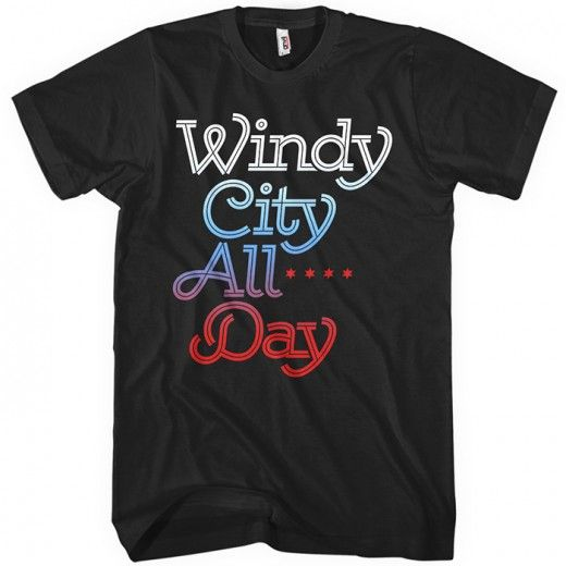 Represent for the Windy City! We designed this with a nice flowing script and the classic Chicago stars, all overlaid with a color gradient.  It's available here in your choice of several colors, printed with eco-friendly inks. Available in short and long-sleeve versions for men, women & kids.